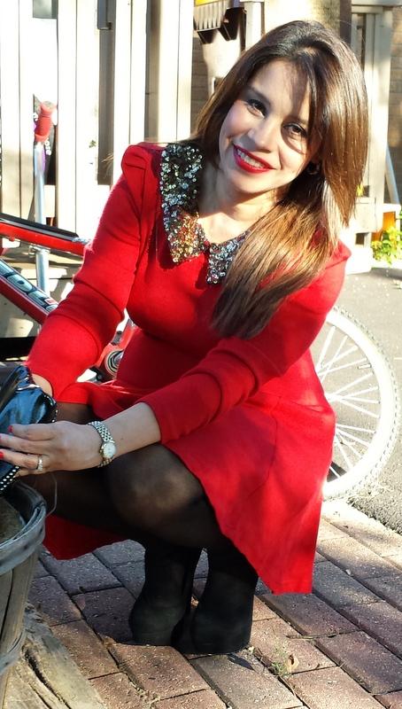 vestido rojo navidad con lentejuelas tjmaxx