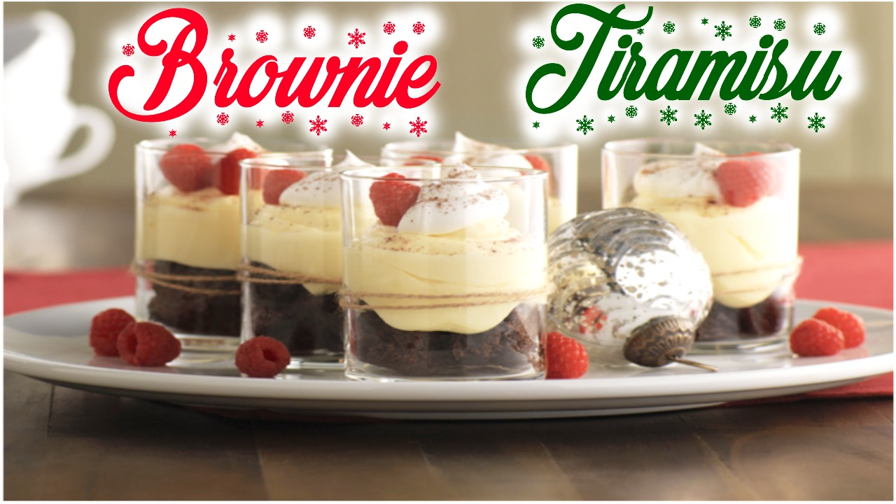 Postre Brownie con crema Tiramisu Parfait by alicia borchardt