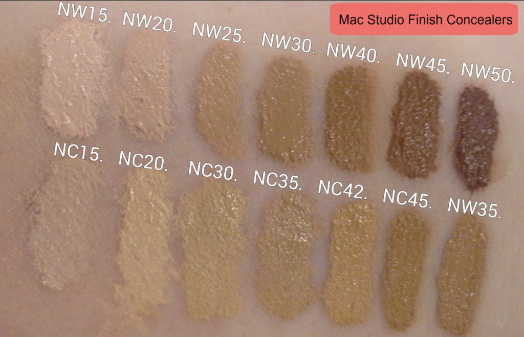 swatches blog español mac studio finish concealers