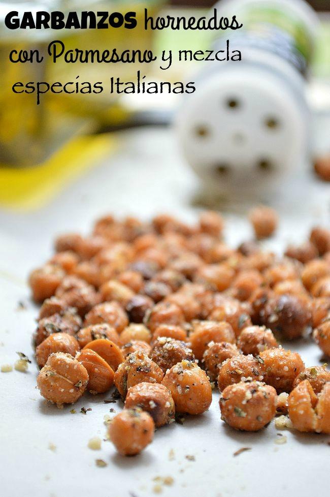 Garbanzos horneados con Parmesano y mezcla de especias Italianas