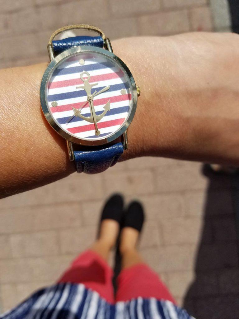 reloj nautico verano rojo blanco y azul