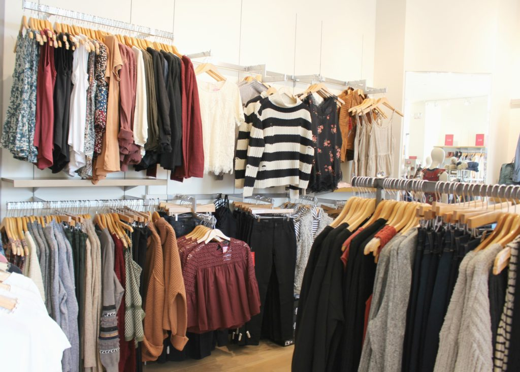 Evereve clothing racks by Alicia Borchardt