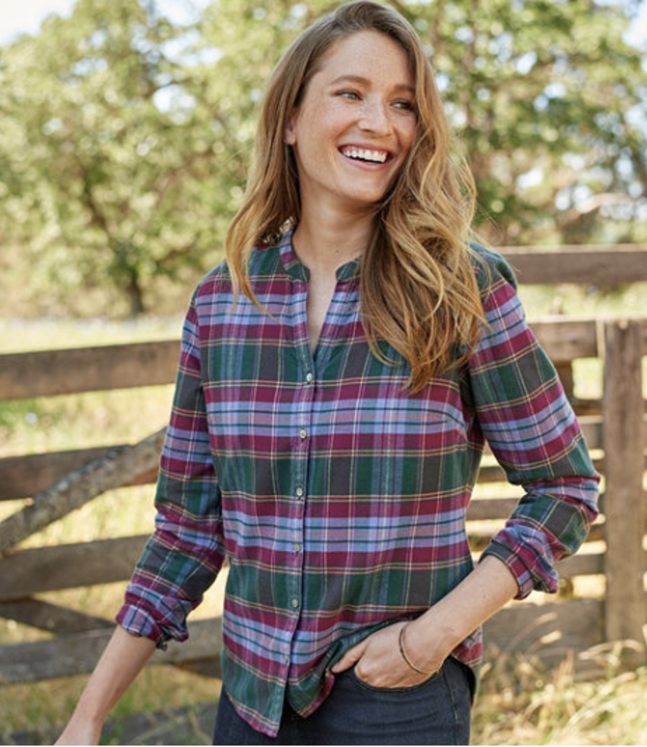 LL.BEAN Splitneck Flannel Shirt, Plaid