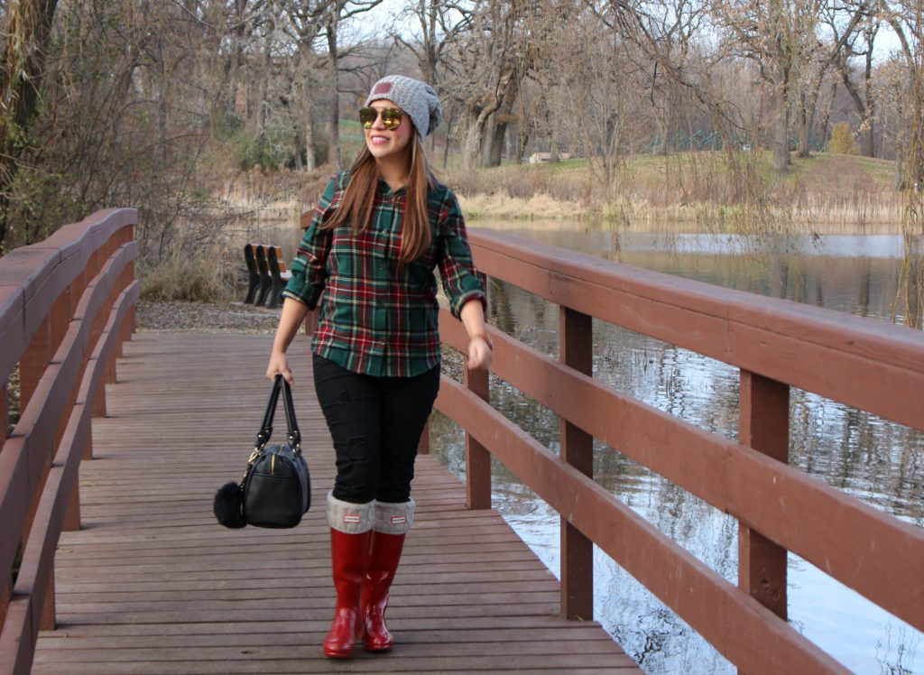 Hunter rain boots and LL.Bean Flannel Scotch Plaid Shirt, Slightly Fitted by Alicia Borchardt.jpg
